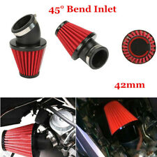 45° Bend High Flow Motorcycle Dual Layer Stainless Steel Mesh Air Filter 42mm