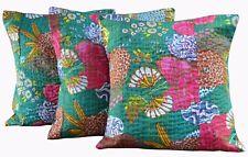 "Fruit Print Indian Handmade Cotton Ethnic Kantha Sofa Cushion Cover 16x16"" Set-3"