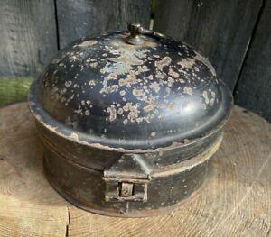 ANTIQUE Victorian Georgian TOLEWARE SPICE TIN box herbs old round storage pot