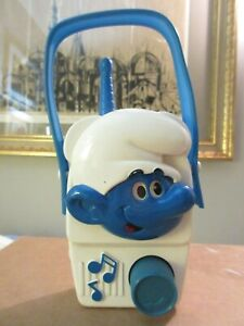Vintage 1982 Smurfs Illco Wind Up Music Box Toy Radio