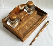 UNUSUAL EMBOSSED LEATHER INKWELL STAMP BOX & DIP PEN NUDE FAUNS SATYR WITCHCRAFT
