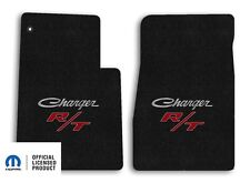 1966-1967 Dodge Challenger 2pc Carpet Front Floor Mats with RT Logo - Ebony