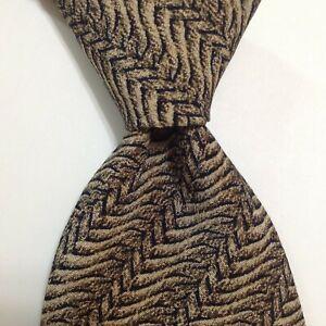 GIORGIO ARMANI Men's Silk Necktie ITALY Designer Geometric Tan/Brown/Blue EUC