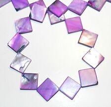 "MP286f Purple 15mm Flat Square Diamond Rhombus Mother of Pearl Shell Beads 16"""