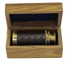 "6"" Handheld Brass Telescope with Wooden Box - Pirate Navigation. USA Seller!!"