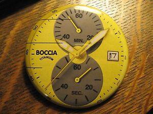 Boccia Titanium German Design Yellow Watch Advertisement Pocket Lipstick Mirror