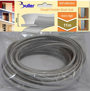 11m Grey Seal Brush Pile Draught And Dust Excluder Self Adhesive 4.8 mm x 4.0 mm