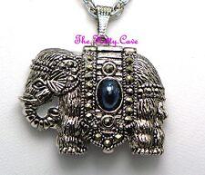 Silber Vintage viktorianisch Kolonial Indisch Afrika Elefant Markasit Anhänger