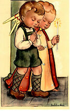 "Vintage Netherlands Postcard Boy & an Angel Praying with a Candle 3.5"" x 5.5"""
