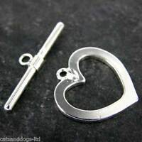 Jewellery Toggle Clasp Sets  LOVE HEART CLASPS BEADS  Silver or Gold Plated K108