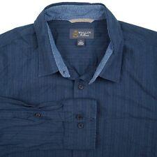 WALLIN & BROS Dark Blue Cotton Mens Casual Sport Shirt - L