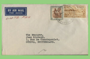 Samoa - 5d and 2/- on 'late fee' airmail cover to Switzerland