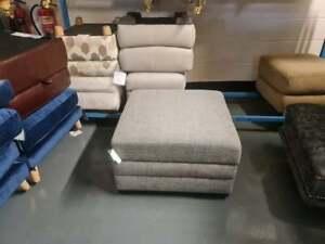 Ex-display Designer grey fabric large storage footstool