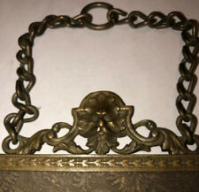 """Antique Tri-Fold 8""""x6"""" Brass Frame & Legs With Ornate Hanger Pat. August 1898"""