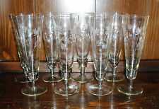 8 Thistle Flower Etched Fostoria Crystal Beer Stein Stem Glasses - 9 1/4in Tall
