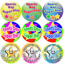 144 Sports Day Star Stickers - School themed teacher reward stickers - Size 30mm