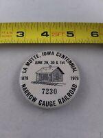 Vtg La Motte Iowa Centennial 1979 Narrow Gauge Railroad pin button pinback *ee4