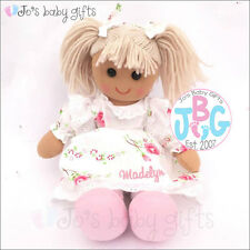 Large Cute Personalised Rose Rag Doll, Flower Girl Wedding Gift, Baby Birth Gift