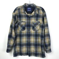 Pendleton Board Shirt Jac Wool Plaid Blue Mens Large L Button Front