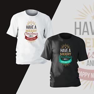 Merry Christmas & Happy New Year Xmas T-Shirt Present Gift Kids Mens Unisex Tee