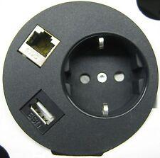Tischsteckdose Netbox Point 1x Schuko 1x USB 1x RJ45 Chrom, matt, NEU, OVP