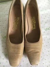 Salavatore Ferragamo Kitten Heels 8.5 AA Tan Textured Leather Soles Italy