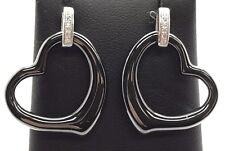 Sterling Silver Gunmetal Heart Love - CZ Pave Swirl Drop Dangle Post Earrings