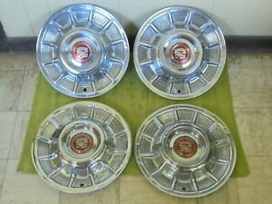 """1957 Cadillac Hub Caps 15"""" Set of 4 Caddy Wheel Covers Hubcaps 57"""