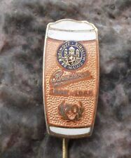 1965 Budvar 70th Anniversary Budweiser Brewery Lager Beer Glass Pin Badge