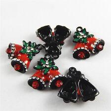 10 pcs Christmas Crystal Enamel Zinc Alloy Jingle Bell Charms Pendant Findings