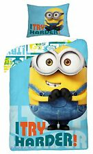 MINIONS I TRY HARDER! 02 Single Bed Duvet Cover Set 100% COTTON b