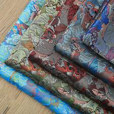 Chinese Damask Fabric Faux Silk Jacquard Brocade Cloth Butterfly DIY Craft Retro
