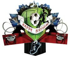 3D Pop Up Greeting Card Happy Birthday Football Kids Cards Boy Fun Keepsake Gift
