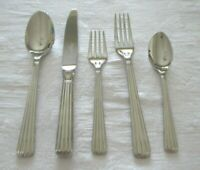 "CHRISTOFLE FRANCE ACIER GLOSSY STAINLESS FLATWARE ""OSIRIS""   30 PC SET FOR 6"