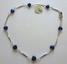 """Anklet - Rhodium plated- blue heart beads -silver color-10"""" beautiful"""