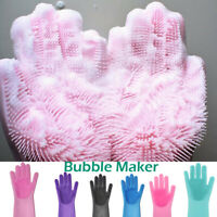 1Pair Magic Silicone Rubber Dish Washing Gloves Scrubber Home Cleaning Scrubbing