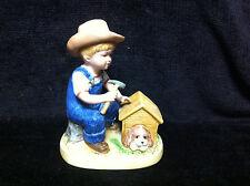 Vintage 1985 Homco Denim Days Porcelain Figurine #1503 Puppy Love Boy & Doghouse