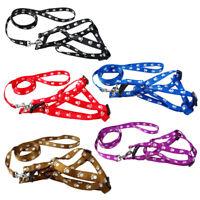 Nylon Dog Pet Harness & Leash Set Paw Print Walking Adjustable S/M/L Red Blue