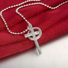 """Womens 925 Sterling Silver CZ Crystal Ring Cross Pendant 20"""" Chain Necklace #N60"""