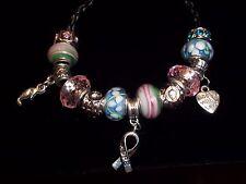 Breast Cancer AWARENESS European PINK & BLUE Glass Bead HOPE Bracelet N-12