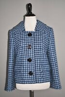 MICHAEL KORS COLLECTION $1950 Blue Houndstooth Wool Coat Size 6