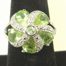 Large .925 Sterling Silver PERIDOT and SAPPHIRE Cluster Cocktail  sz 7 Ring 6.2g