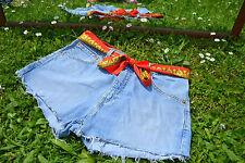 VTG Levis 525 Denim Hose Jeans Shorts maßgeschneiderte High Waist FREE BELT SZ 14 M52