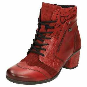 Remonte TEX D5470-35 Red Leather Ankle Boots Block Heel Lace Up Zip Shoes Punk