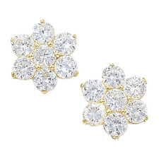 New 9ct Gold Cubic Zirconia Flower Earrings Women's Jewellery Gift