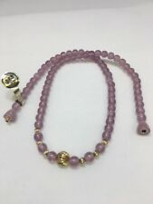 Lucite Purple Lavender Translucent Made in Japan Bead Necklace Gold Tone Vintage