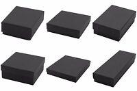 Lot of 100 Black Matte Kraft Cotton Fill Jewelry Gift Boxes Choose Size
