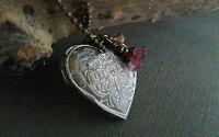 heart locket, bronze patina, floral, flower, handmade, one of a kind