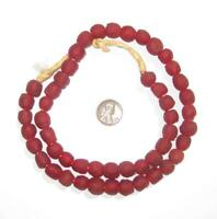 Deep Red Recycled Glass Beads 11mm Ghana African Sea Glass Round Large Hole