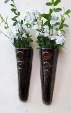 Pair of Hand Made Black Ceramic Glass Inlaid Pottery Wall Vase Indoor Outdoor